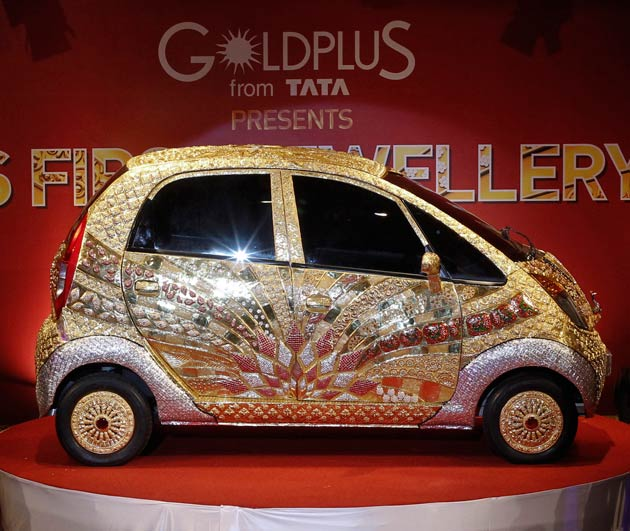 Bejewelled Tata Nano for ALA GAP Insurance