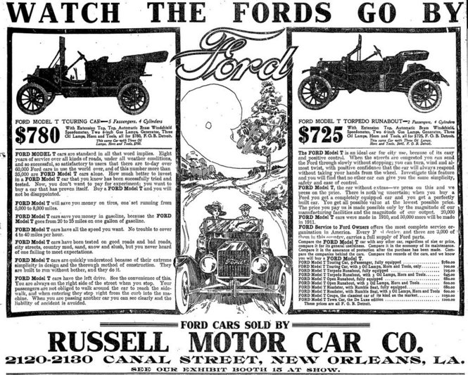 Fords Russell Motor Car Advert