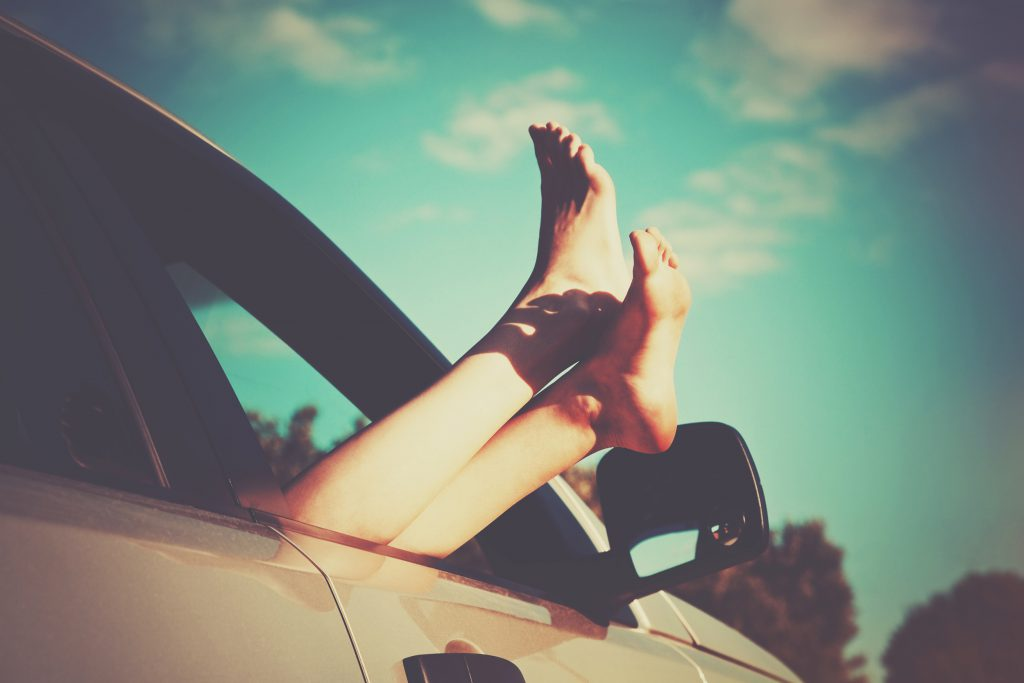 Feet out of Car