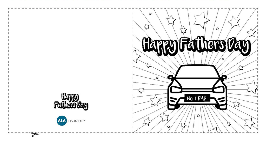 ALA Fathers Day Card - Colouring Sheet