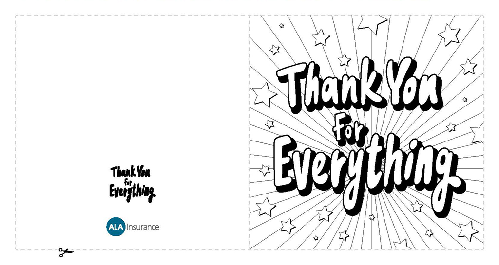 ALA Thank You For Everything Card - Colouring Sheet